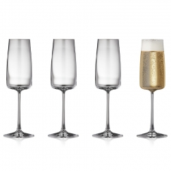 Lyngby Zero Krystal Champagneglas 30cl 4 stk