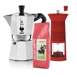 Bialetti Kaffemølle Inkl. Moka Express 6 Kop & Kaffe