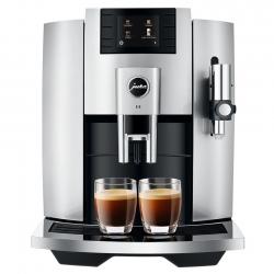 Jura E8 (EB) 2020 Moonlight Silver Espressomaskine Inkl. Mælkebeholder, Kopper & Kaffe